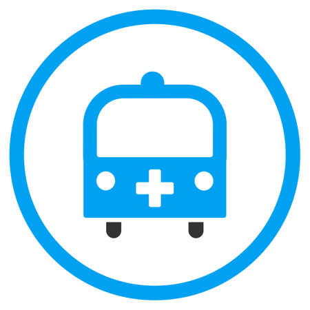 schoolbus: Medical Bus vector icon. Style is bicolor flat circled symbol, blue and gray colors, rounded angles, white background. Illustration