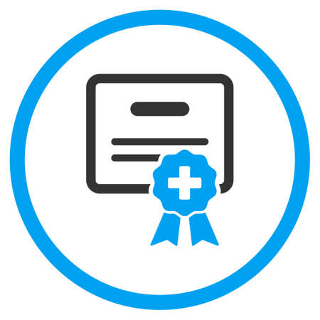 Medical Certification vector icon. Style is bicolor flat circled symbol, blue and gray colors, rounded angles, white background.