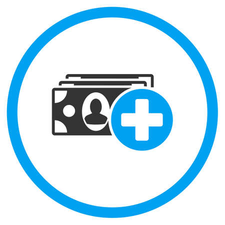 medical bills: Medical Expences vector icon. Style is bicolor flat circled symbol, blue and gray colors, rounded angles, white background. Illustration