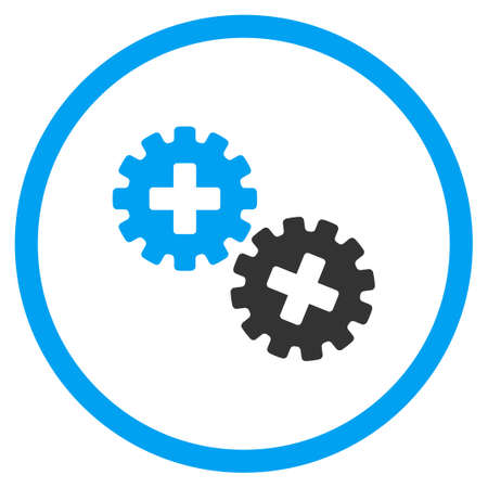 gear box: Medical Gears vector icon. Style is bicolor flat circled symbol, blue and gray colors, rounded angles, white background.