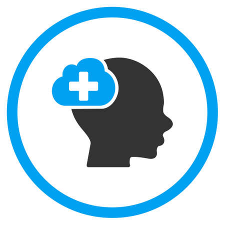 health care analytics: Medical Idea vector icon. Style is bicolor flat circled symbol, blue and gray colors, rounded angles, white background. Illustration