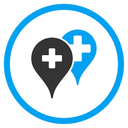 hospital background: Medical Map Markers vector icon. Style is bicolor flat circled symbol, blue and gray colors, rounded angles, white background.