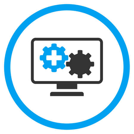 gear box: Medical Process Monitoring vector icon. Style is bicolor flat circled symbol, blue and gray colors, rounded angles, white background.