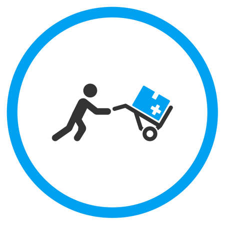 emergency cart: Medical Shopping vector icon. Style is bicolor flat circled symbol, blue and gray colors, rounded angles, white background.