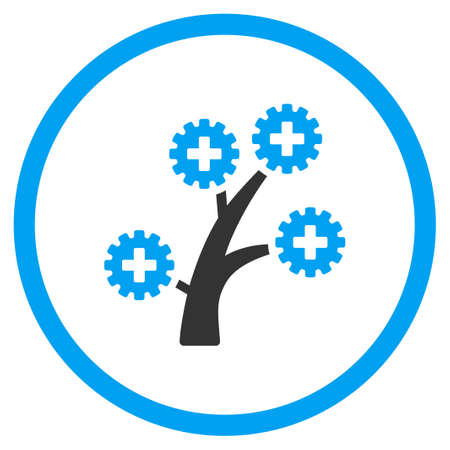medical technology: Medical Technology Tree vector icon. Style is bicolor flat circled symbol, blue and gray colors, rounded angles, white background. Illustration