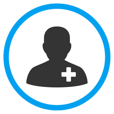 add: Medical Volunteer vector icon. Style is bicolor flat circled symbol, blue and gray colors, rounded angles, white background.