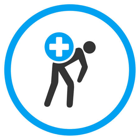 porter: Medication Courier vector icon. Style is bicolor flat circled symbol, blue and gray colors, rounded angles, white background.