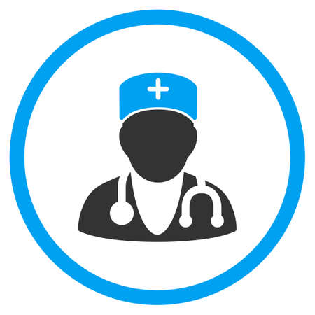 physician: Physician vector icon. Style is bicolor flat circled symbol, blue and gray colors, rounded angles, white background.