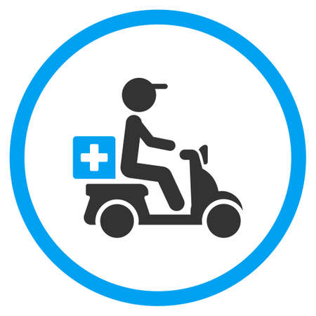 Drugs Motorbike Delivery glyph icon. Style is bicolor flat circled symbol, blue and gray colors, rounded angles, white background.