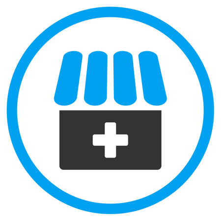pharmaceutical company: Drugstore glyph icon. Style is bicolor flat circled symbol, blue and gray colors, rounded angles, white background.