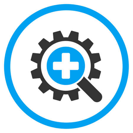 medical technology: Find Medical Technology glyph icon. Style is bicolor flat circled symbol, blue and gray colors, rounded angles, white background.