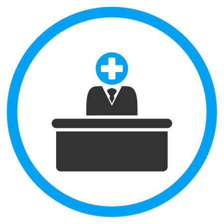 bureaucrat: Medical Bureaucrat glyph icon. Style is bicolor flat circled symbol, blue and gray colors, rounded angles, white background. Stock Photo