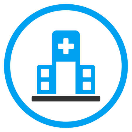 pharmaceutical company: Hospital Building glyph icon. Style is bicolor flat circled symbol, blue and gray colors, rounded angles, white background. Stock Photo
