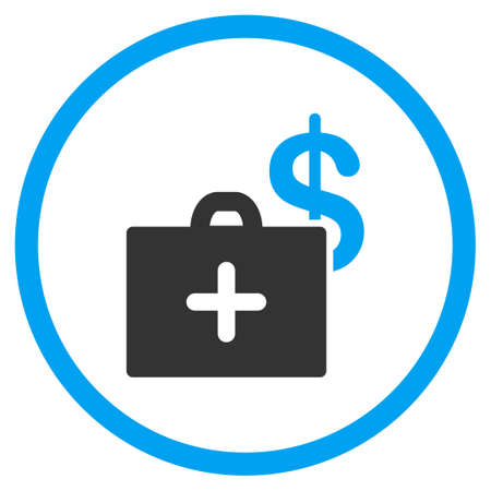 doctor with dollars: Medical Fund glyph icon. Style is bicolor flat circled symbol, blue and gray colors, rounded angles, white background.