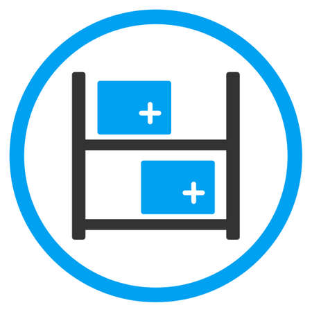 medical distribution: Medical Warehouse glyph icon. Style is bicolor flat circled symbol, blue and gray colors, rounded angles, white background.