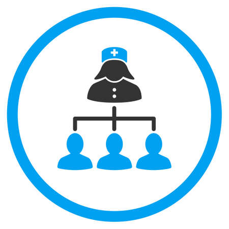 patients: Nurse Patients Connections glyph icon. Style is bicolor flat circled symbol, blue and gray colors, rounded angles, white background.