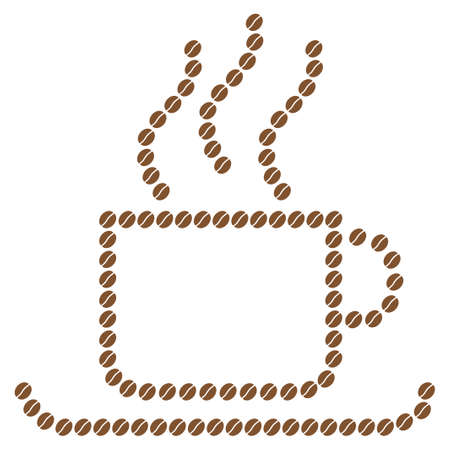 vapour: Coffee cup vector collage composed from coffee beans. Flat brown seeds on a white background.