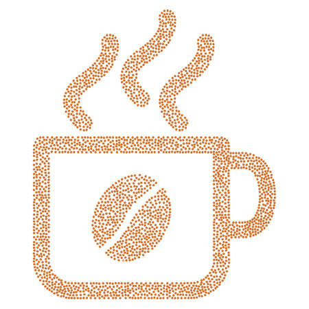 vapour: Coffee cup vector composition organized from coffee beans. Flat brown seeds on a white background. Illustration