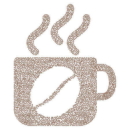vapour: Steam coffee cup vector collage composed from coffee beans. Flat brown seeds on a white background.