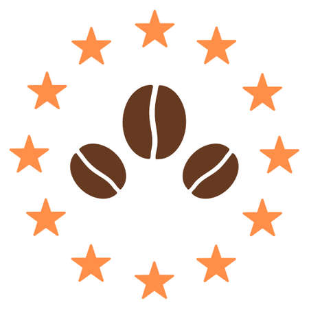 coffea: Premium coffee vector logo created from coffee beans and stars. Flat brown seeds on a white background inside starred circle. Illustration
