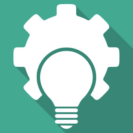 configuration: Bulb Configuration vector icon. Style is a flat white symbol with long shadow on a colored square.