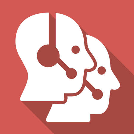 operators: Call Center Operators vector icon. Style is a flat white symbol with long shadow on a colored square. Illustration