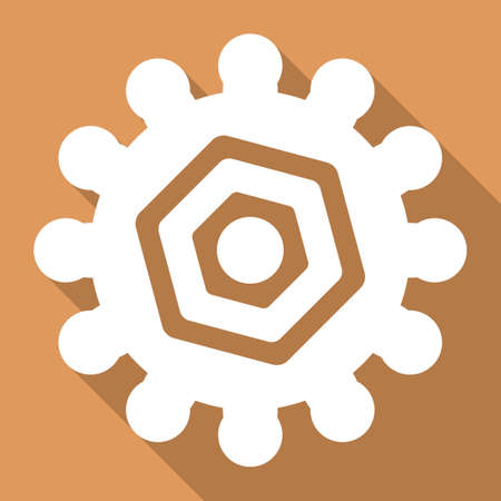 Gear vector icon. Style is a flat white symbol with long shadow on a colored square.