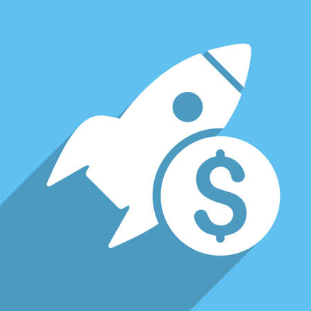 satellite launch: Business Startup vector icon. Style is a flat white symbol with long shadow on a light blue square.