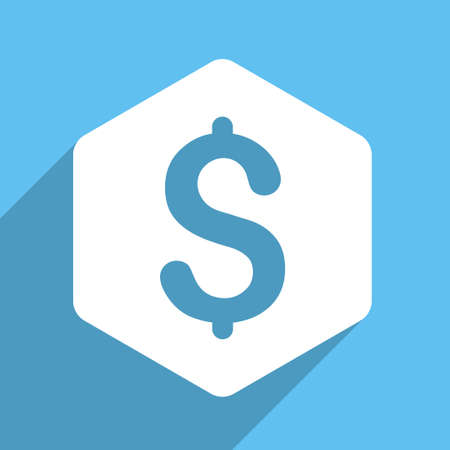 price gain: Dollar Hexagon vector icon. Style is a flat white symbol with long shadow on a light blue square.