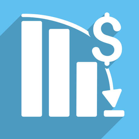 financial crisis: Financial Crisis vector icon. Style is a flat white symbol with long shadow on a light blue square. Illustration