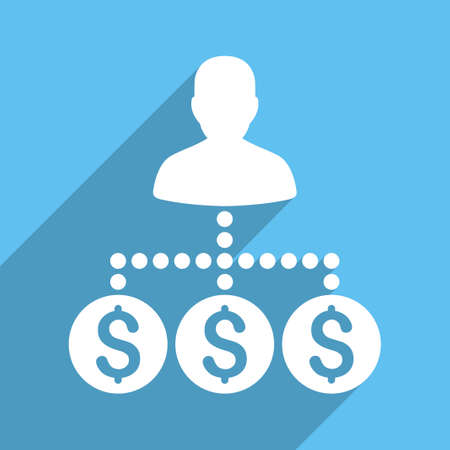 collector: Money Collector vector icon. Style is a flat white symbol with long shadow on a light blue square. Illustration