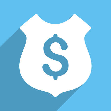 honor guard: Financial Shield vector icon. Style is a flat white symbol with long shadow on a light blue square.