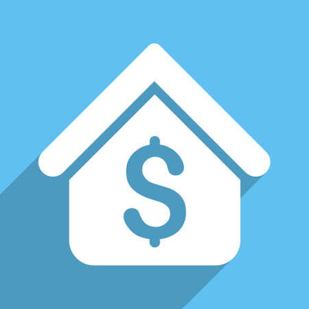 corporative: Loan Mortgage glyph icon. Style is a flat white symbol with long shadow on a colored square.