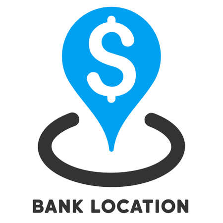 caption: Bank Location vector icon with caption. Symbol style is a bicolor flat symbol with rounded angles, blue and gray colors, white background.
