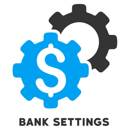 caption: Bank Settings vector icon with caption. Symbol style is a bicolor flat symbol with rounded angles, blue and gray colors, white background.