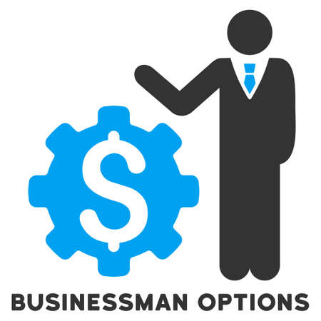 setup man: Businessman Options vector icon with caption. Symbol style is a bicolor flat symbol with rounded angles, blue and gray colors, white background. Illustration