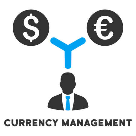 caption: Currency Management vector icon with caption. Symbol style is a bicolor flat symbol with rounded angles, blue and gray colors, white background.
