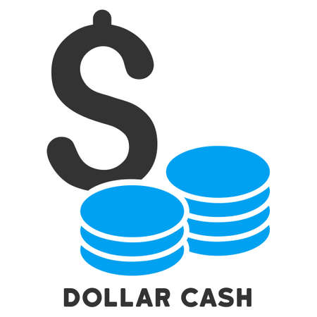 caption: Dollar Cash vector icon with caption. Symbol style is a bicolor flat symbol with rounded angles, blue and gray colors, white background. Illustration