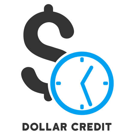 caption: Dollar Credit vector icon with caption. Symbol style is a bicolor flat symbol with rounded angles, blue and gray colors, white background. Illustration