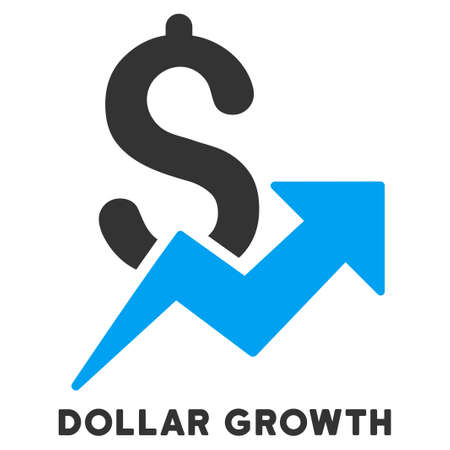 caption: Dollar Growth vector icon with caption. Symbol style is a bicolor flat symbol with rounded angles, blue and gray colors, white background. Illustration