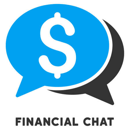 caption: Financial Chat vector icon with caption. Symbol style is a bicolor flat symbol with rounded angles, blue and gray colors, white background.
