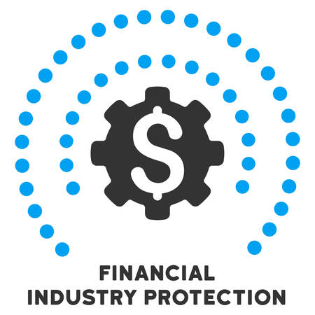 caption: Financial Industry Protection vector icon with caption. Symbol style is a bicolor flat symbol with rounded angles, blue and gray colors, white background.