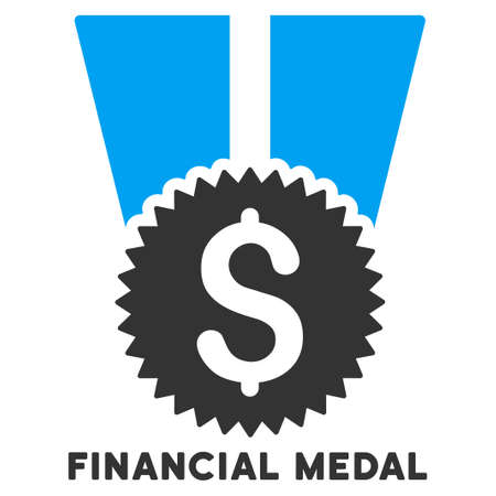 authorize: Financial Medal vector icon with caption. Symbol style is a bicolor flat symbol with rounded angles, blue and gray colors, white background.