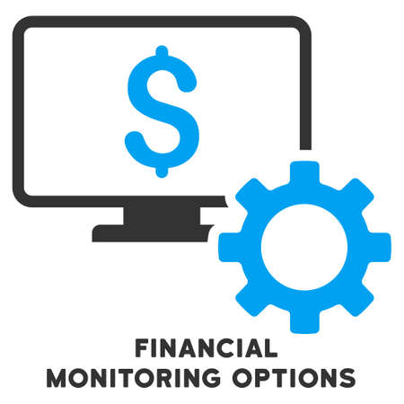 caption: Financial Monitoring Options vector icon with caption. Symbol style is a bicolor flat symbol with rounded angles, blue and gray colors, white background. Illustration