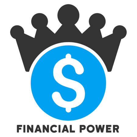 caption: Financial Power vector icon with caption. Symbol style is a bicolor flat symbol with rounded angles, blue and gray colors, white background. Illustration