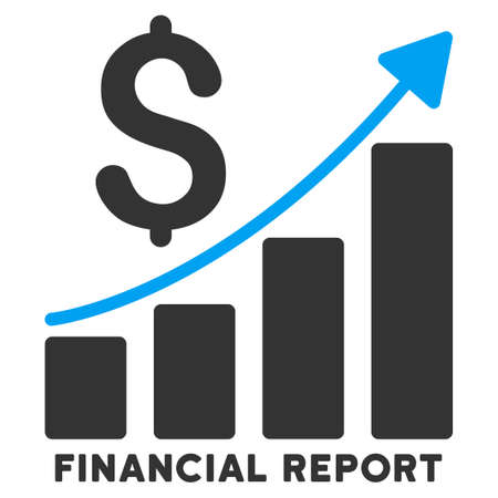 caption: Financial Report vector icon with caption. Symbol style is a bicolor flat symbol with rounded angles, blue and gray colors, white background.
