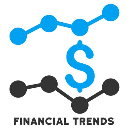 caption: Financial Trends vector icon with caption. Symbol style is a bicolor flat symbol with rounded angles, blue and gray colors, white background.
