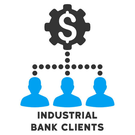collaborator: Industrial Bank Clients vector icon with caption. Symbol style is a bicolor flat symbol with rounded angles, blue and gray colors, white background.