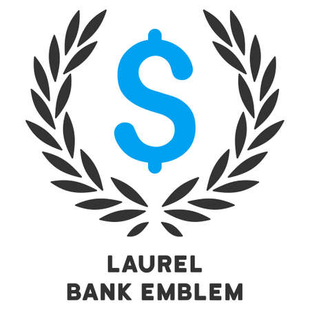 caption: Laurel Bank Emblem vector icon with caption. Symbol style is a bicolor flat symbol with rounded angles, blue and gray colors, white background.