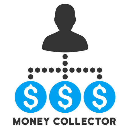 subsidiary: Money Collector vector icon with caption. Symbol style is a bicolor flat symbol with rounded angles, blue and gray colors, white background.